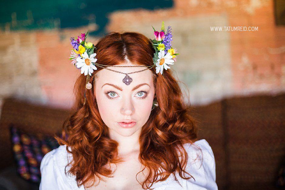 Bohemian bride, boho bride, floral headwear for brides, outdoor wedding, Norfolk, Norwich, Tatum Reid (25)