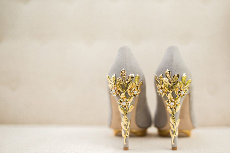 Nude harriet wilde wedding shoes with gold leave heel detail_fine art