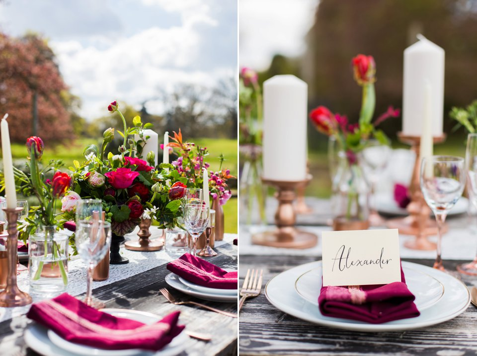 Narborough Hall gardens_ Norfolk wedding venue_rustic_boho_burgundy_loose flowers_floral crown_calligraphy_tatum reid photography (98)