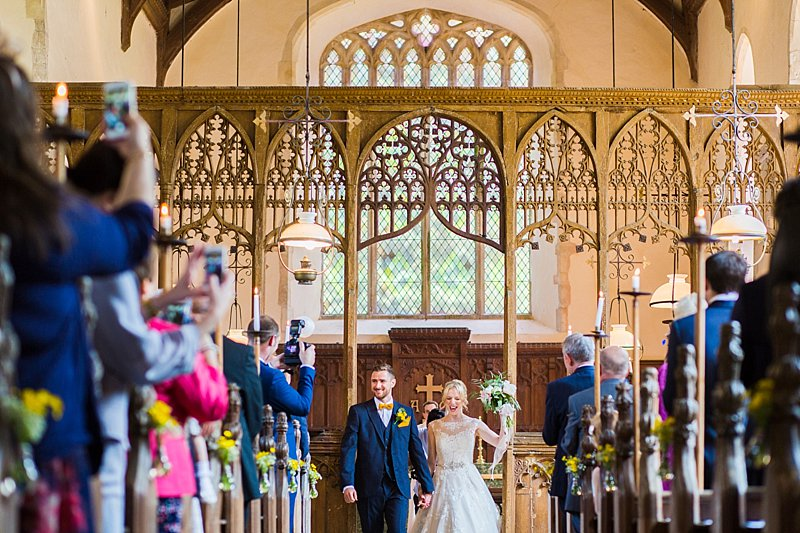 somerleyton hall wedding photography_st mary's church_tatum reid _bride and groom exiting church