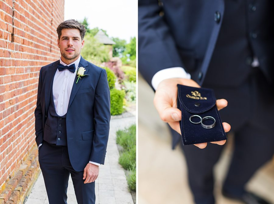 Southwood Hall wedding with groom holding wedding rings