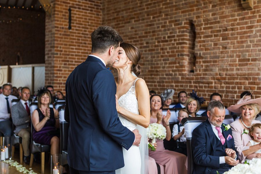 Southwood Hall wedding bride and groom first kiss
