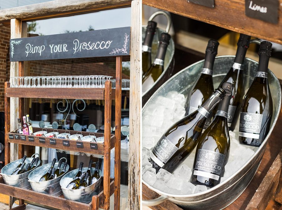 Southwood Hall wedding prosecco station