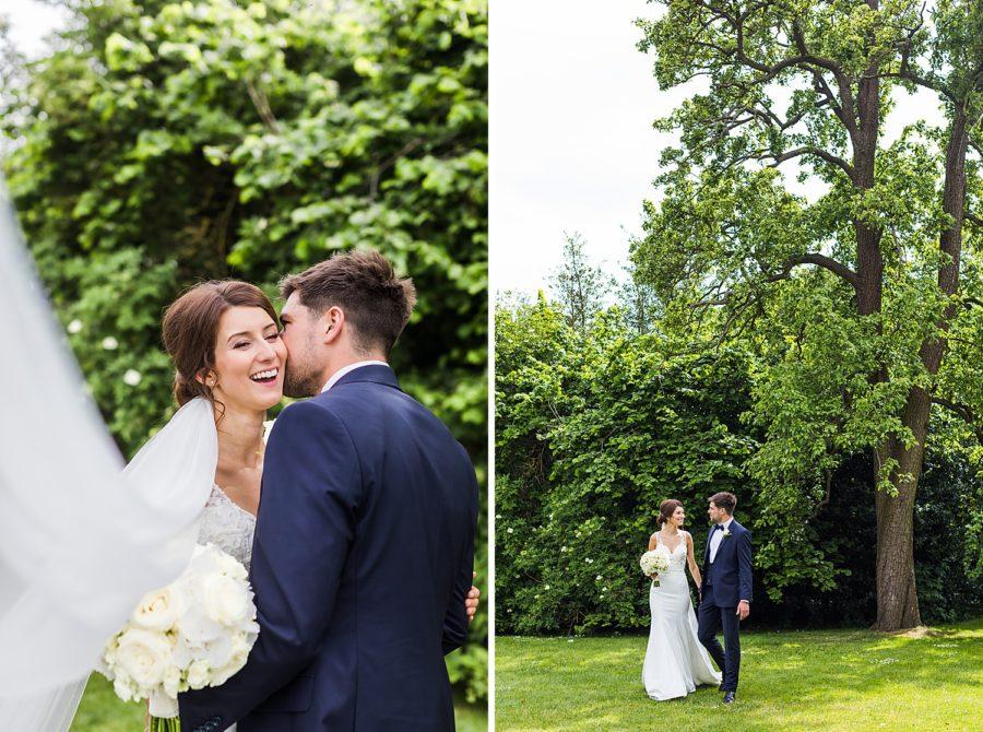 Southwood Hall wedding couple walking in gardens