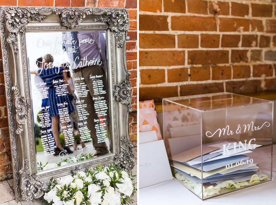Southwood Hall wedding table names on mirror