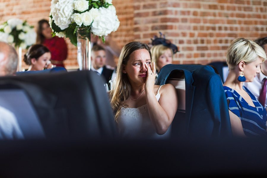 Southwood Hall wedding guest crying during speeches