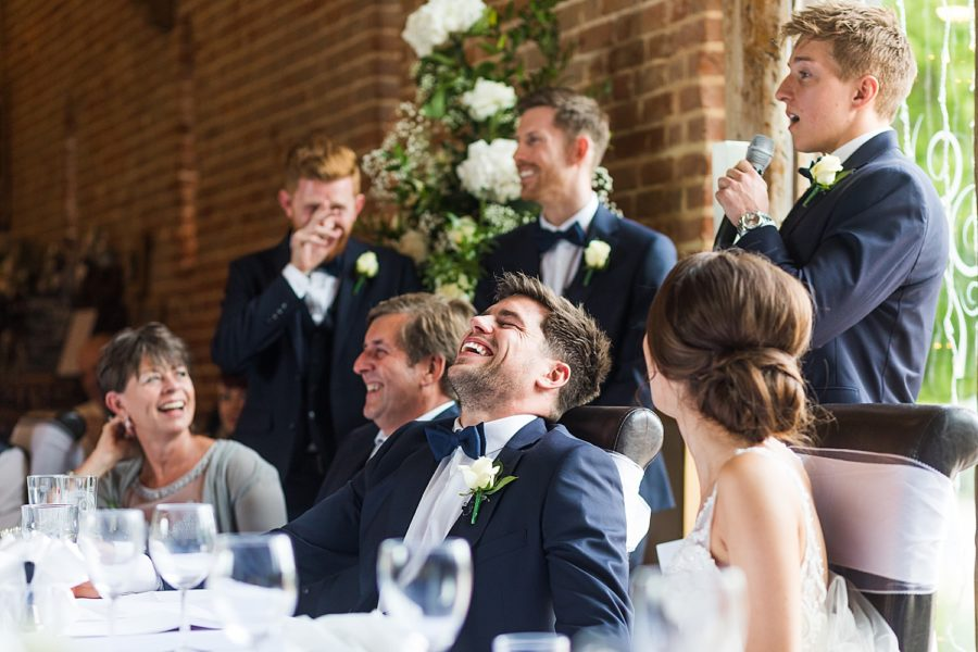 Southwood Hall wedding groom laughing at best man speech