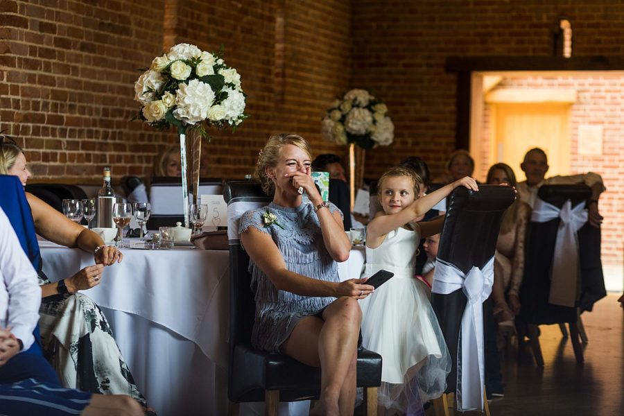 Southwood Hall wedding guest laughing at groom speech